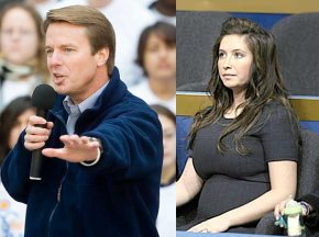 Edwards denies being the father of the child.  The child this time is Bristol Palin's.