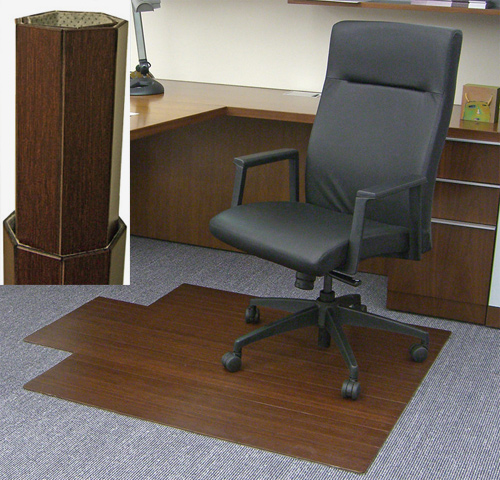 AMB24011 Dark Cherry Bamboo Desk Chair Mat By Anji Mtn 48 X 52 5