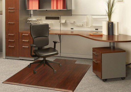 Product Description & Dark Cherry Bamboo Office Chair Mats $335.00 Tri-Fold Model AMB0500 ...