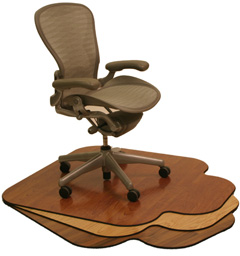 Wood office chair mats made by SnapMat, Inc.