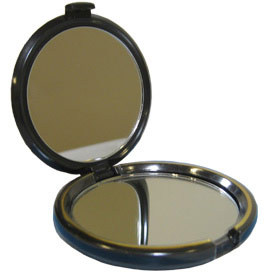 7X or Standard 1x Power magnification mirrors both in one Compact Mirror case.  Apply make-up or cosmetics on the go!