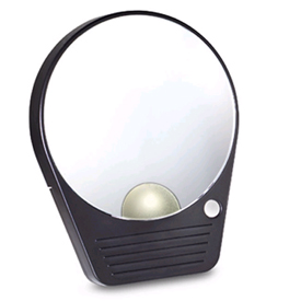 10X Lighted Mirror Mate by Floxite is more than just a suction cup mirror that atttaches to any other mirror or hard flat surface.  It's got a light allowing for use in the dark, and comes with its own travel pouch. A great mirror for your make-up needs!