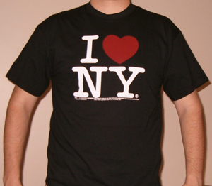 Black t-shirt with the I love New York design printed on it